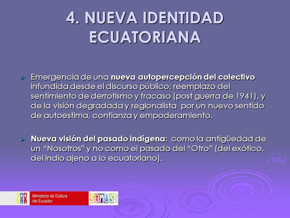 4. NUEVA IDENTIDAD ECUATORIANA Emergencia de una nueva autopercepción del colectivo infundida desde el discurso público: reemplazo del sentimiento de