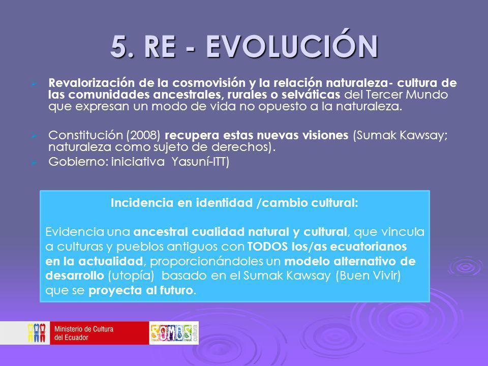 5. RE - EVOLUCIÓN Revalorización de la cosmovisión y la relación naturaleza- cultura de las comunidades ancestrales, rurales o selváticas del Tercer M