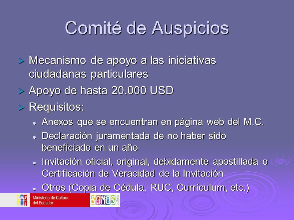 Comité de Auspicios Mecanismo de apoyo a las iniciativas ciudadanas particulares Mecanismo de apoyo a las iniciativas ciudadanas particulares Apoyo de
