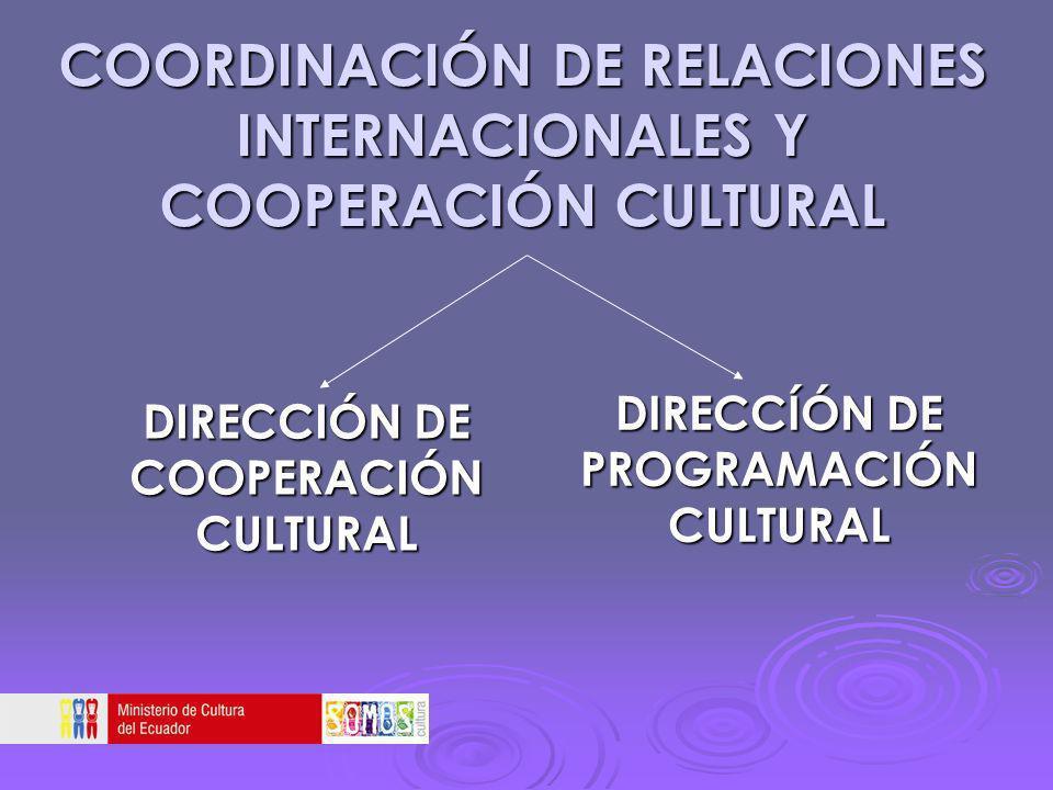COORDINACIÓN DE RELACIONES INTERNACIONALES Y COOPERACIÓN CULTURAL DIRECCIÓN DE COOPERACIÓN CULTURAL DIRECCÍÓN DE PROGRAMACIÓN CULTURAL