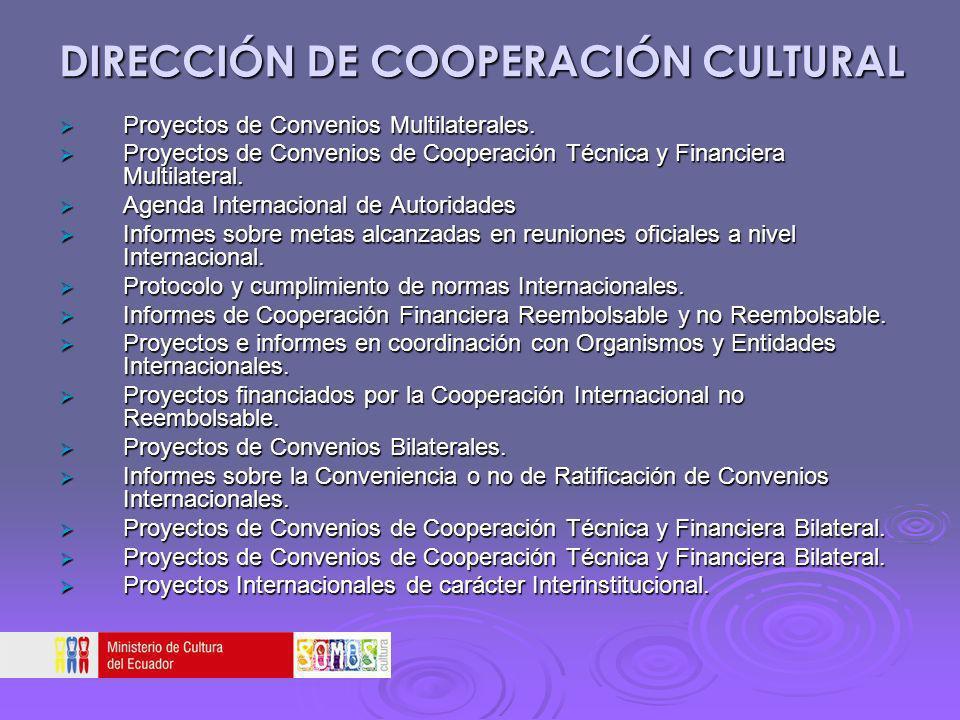 DIRECCIÓN DE COOPERACIÓN CULTURAL Proyectos de Convenios Multilaterales. Proyectos de Convenios Multilaterales. Proyectos de Convenios de Cooperación