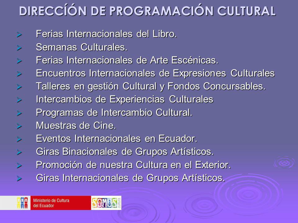 DIRECCÍÓN DE PROGRAMACIÓN CULTURAL Ferias Internacionales del Libro. Ferias Internacionales del Libro. Semanas Culturales. Semanas Culturales. Ferias