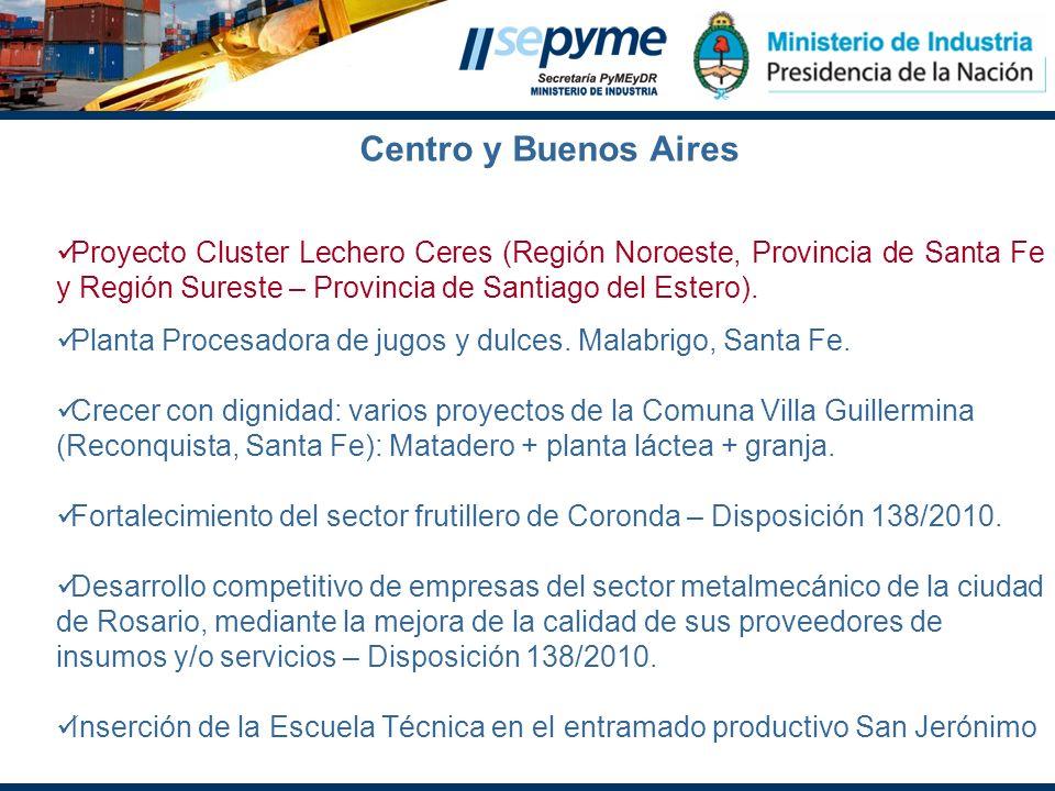 Centro y Buenos Aires Proyecto Cluster Lechero Ceres (Región Noroeste, Provincia de Santa Fe y Región Sureste – Provincia de Santiago del Estero). Pla