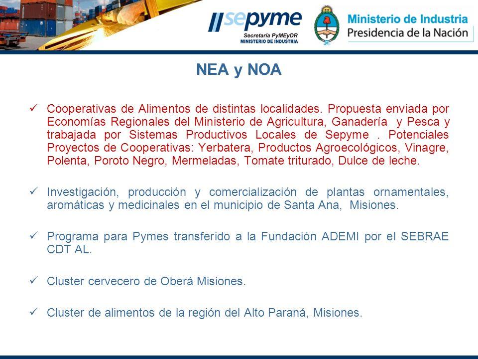 NEA y NOA Cooperativas de Alimentos de distintas localidades. Propuesta enviada por Economías Regionales del Ministerio de Agricultura, Ganadería y Pe