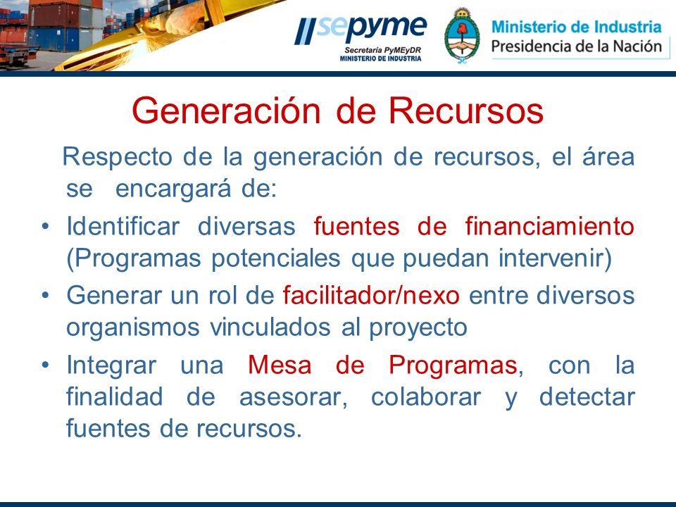 Generación de Recursos Respecto de la generación de recursos, el área se encargará de: Identificar diversas fuentes de financiamiento (Programas poten