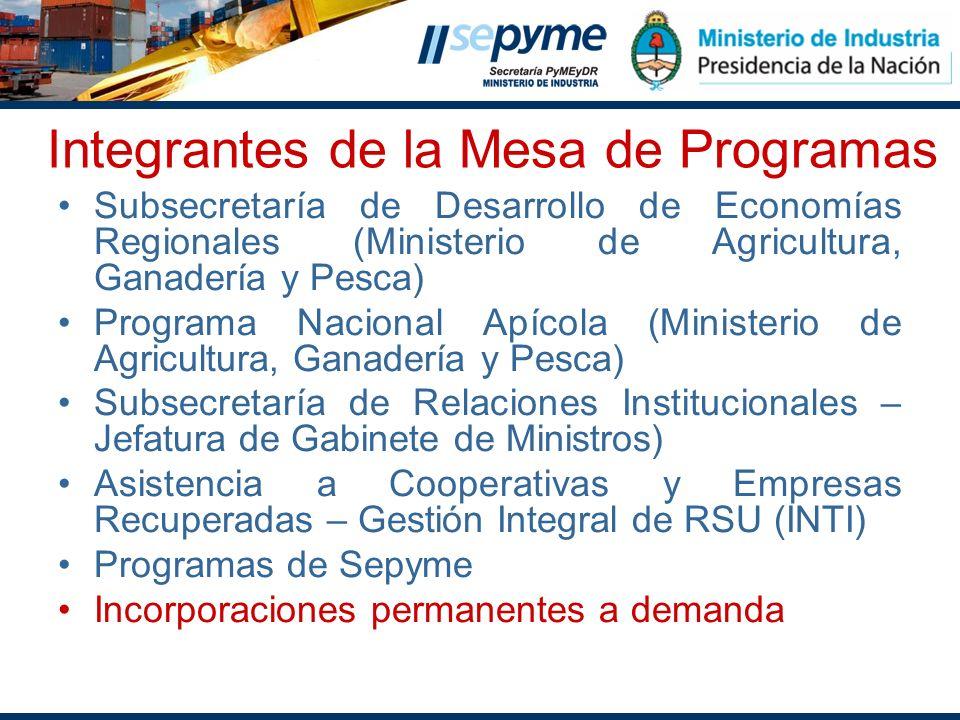 Integrantes de la Mesa de Programas Subsecretaría de Desarrollo de Economías Regionales (Ministerio de Agricultura, Ganadería y Pesca) Programa Nacion