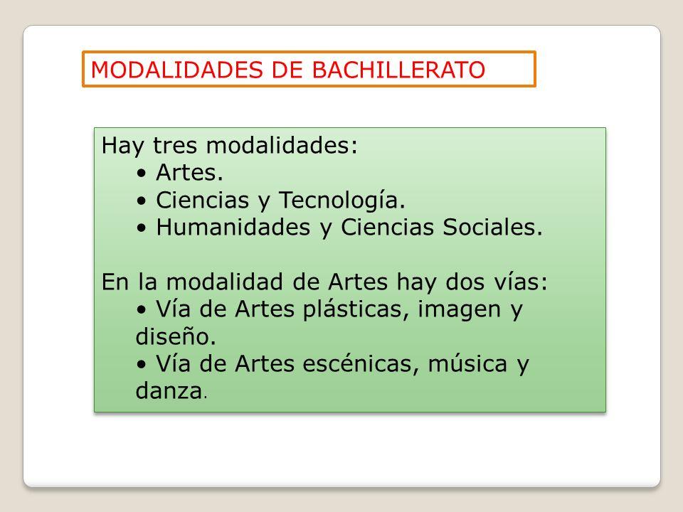 Hay tres modalidades: Artes. Ciencias y Tecnología. Humanidades y Ciencias Sociales. En la modalidad de Artes hay dos vías: Vía de Artes plásticas, im