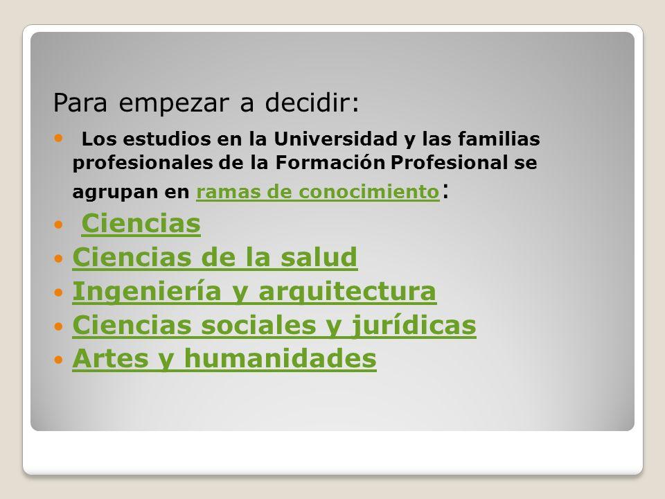 Para empezar a decidir: Los estudios en la Universidad y las familias profesionales de la Formación Profesional se agrupan en ramas de conocimiento :r