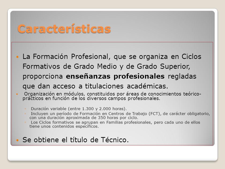 Características Características La Formación Profesional, que se organiza en Ciclos Formativos de Grado Medio y de Grado Superior, proporciona enseñan