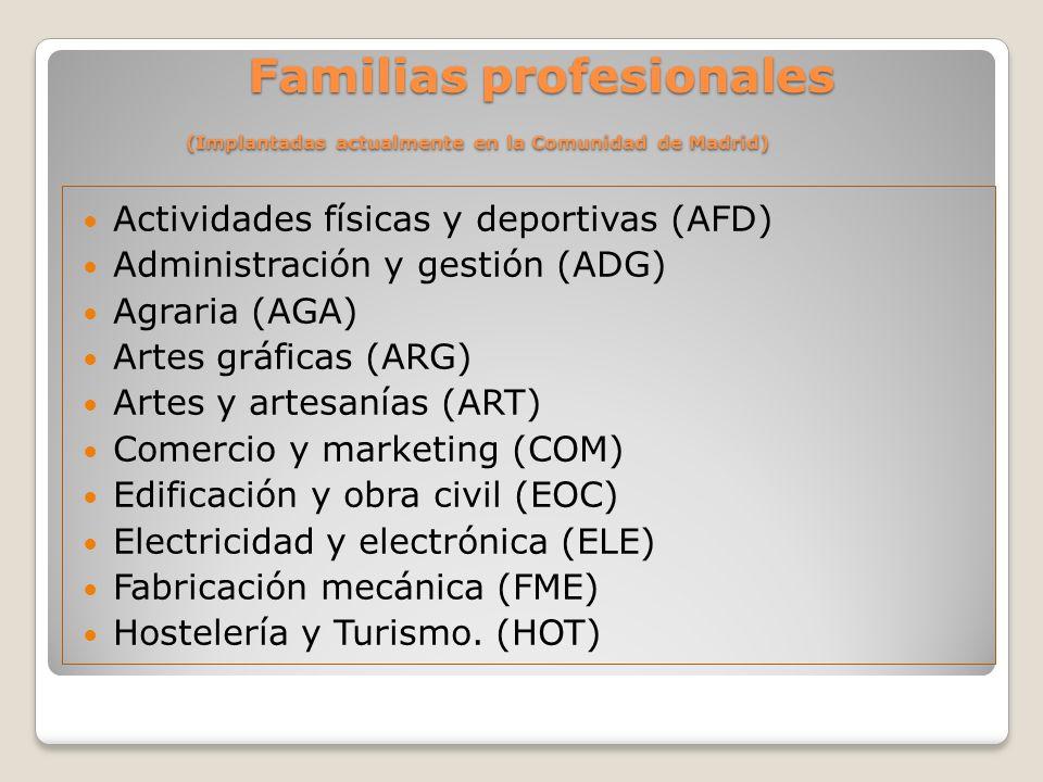 Familias profesionales (Implantadas actualmente en la Comunidad de Madrid) Familias profesionales (Implantadas actualmente en la Comunidad de Madrid)