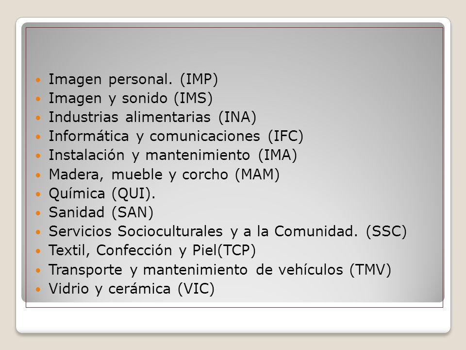 Imagen personal. (IMP) Imagen y sonido (IMS) Industrias alimentarias (INA) Informática y comunicaciones (IFC) Instalación y mantenimiento (IMA) Madera