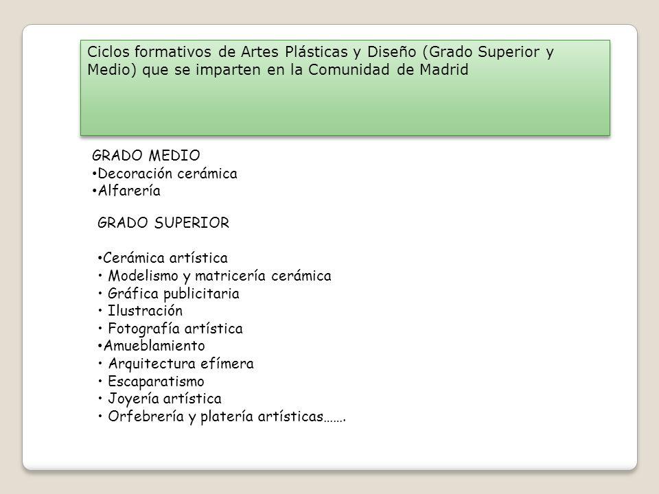 Ciclos formativos de Artes Plásticas y Diseño (Grado Superior y Medio) que se imparten en la Comunidad de Madrid GRADO MEDIO Decoración cerámica Alfar