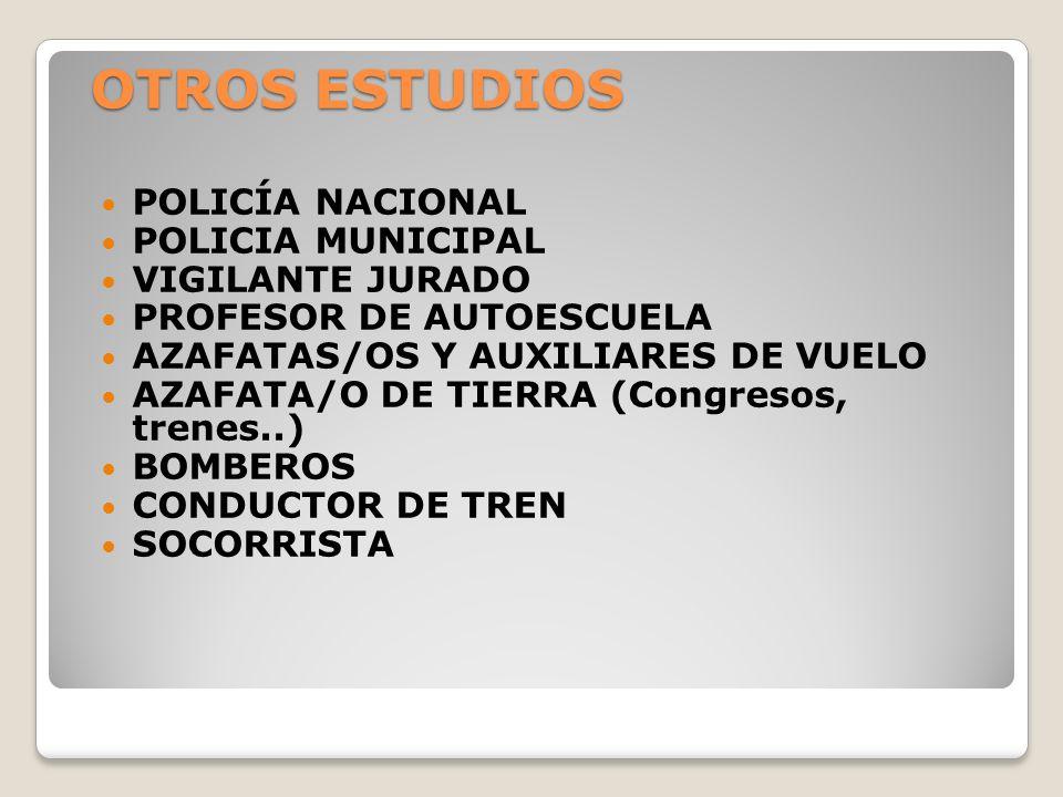 OTROS ESTUDIOS POLICÍA NACIONAL POLICIA MUNICIPAL VIGILANTE JURADO PROFESOR DE AUTOESCUELA AZAFATAS/OS Y AUXILIARES DE VUELO AZAFATA/O DE TIERRA (Cong