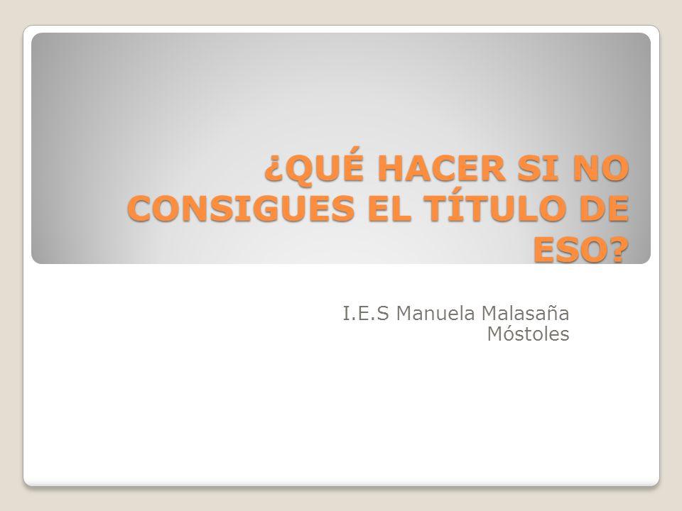 ¿QUÉ HACER SI NO CONSIGUES EL TÍTULO DE ESO? I.E.S Manuela Malasaña Móstoles