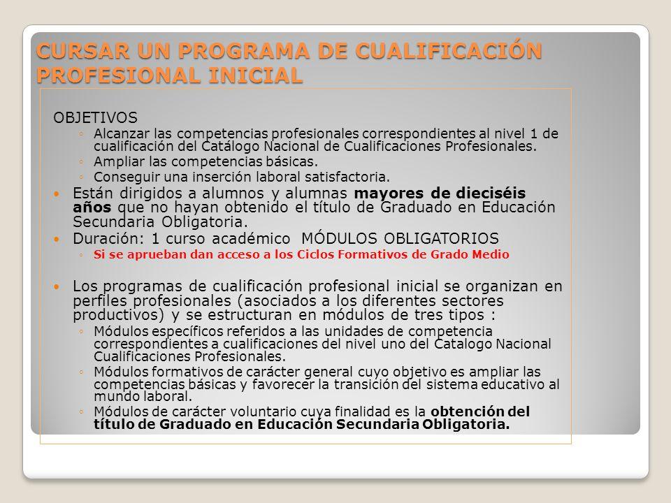 OBJETIVOS Alcanzar las competencias profesionales correspondientes al nivel 1 de cualificación del Catálogo Nacional de Cualificaciones Profesionales.