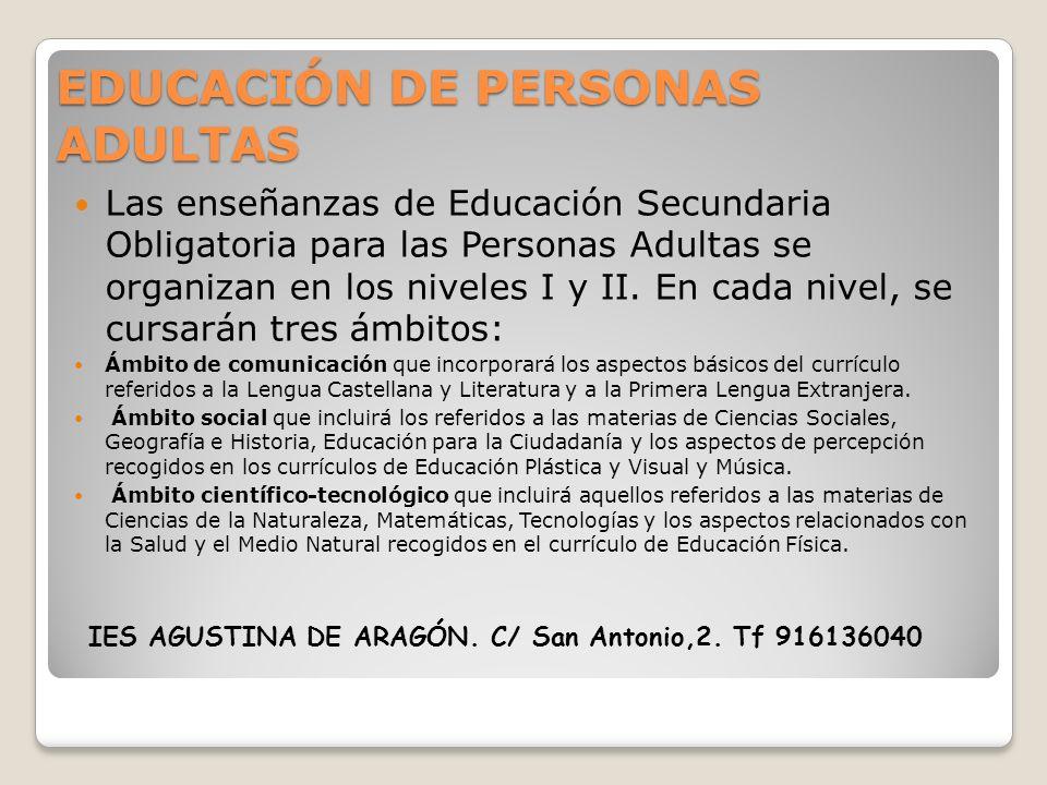 EDUCACIÓN DE PERSONAS ADULTAS Las enseñanzas de Educación Secundaria Obligatoria para las Personas Adultas se organizan en los niveles I y II. En cada