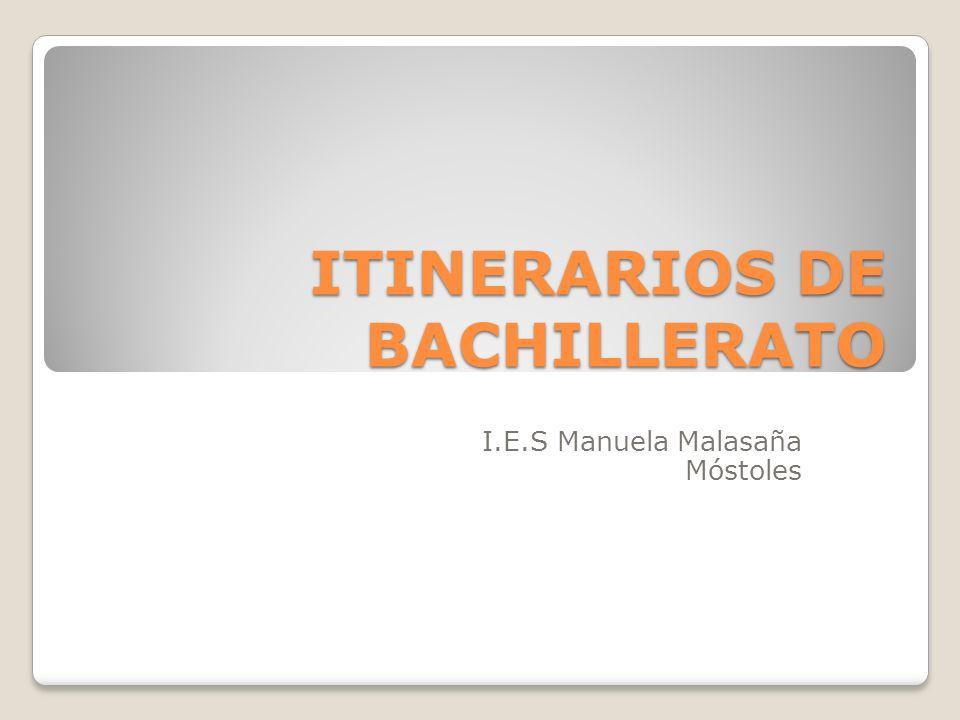ITINERARIOS DE BACHILLERATO I.E.S Manuela Malasaña Móstoles