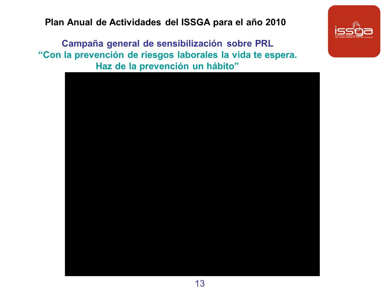 Plan Anual de Actividades del ISSGA para el año 2010 Campaña general de sensibilización sobre PRL Con la prevención de riesgos laborales la vida te es