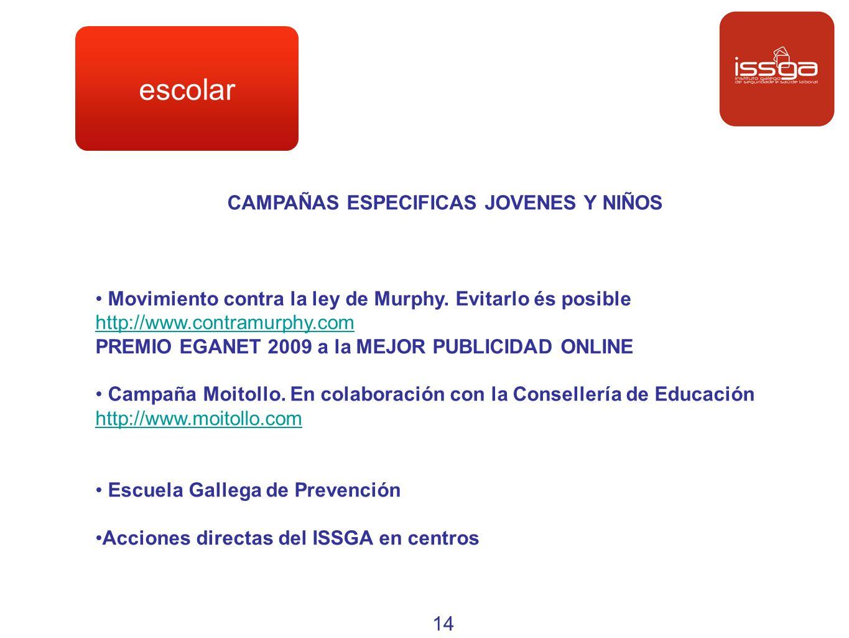 escolar CAMPAÑAS ESPECIFICAS JOVENES Y NIÑOS Movimiento contra la ley de Murphy. Evitarlo és posible http://www.contramurphy.com PREMIO EGANET 2009 a