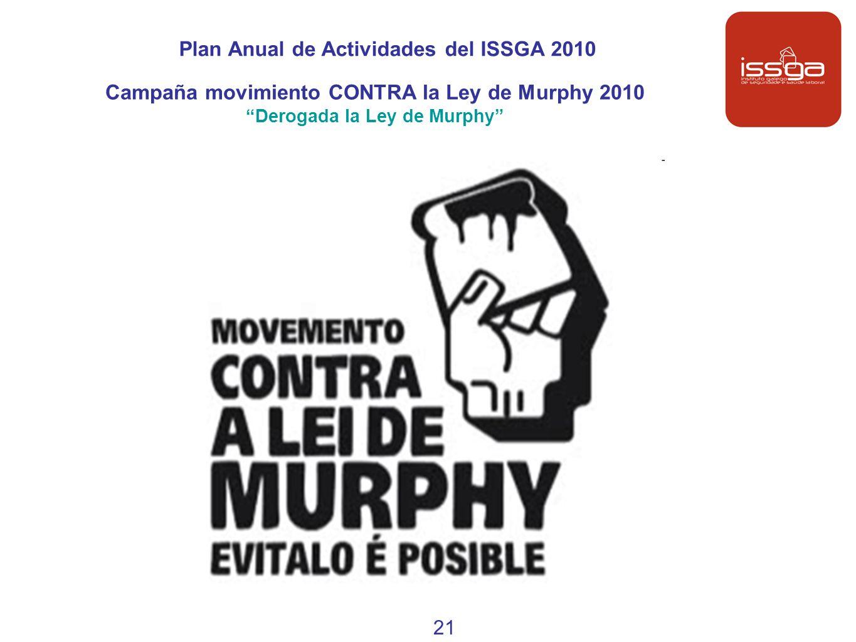 Plan Anual de Actividades del ISSGA 2010 Campaña movimiento CONTRA la Ley de Murphy 2010 Derogada la Ley de Murphy 21