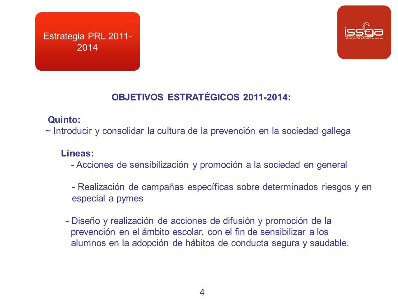 Estrategia PRL 2011- 2014 OBJETIVOS ESTRATÉGICOS 2011-2014: Quinto: ~ Introducir y consolidar la cultura de la prevención en la sociedad gallega Línea