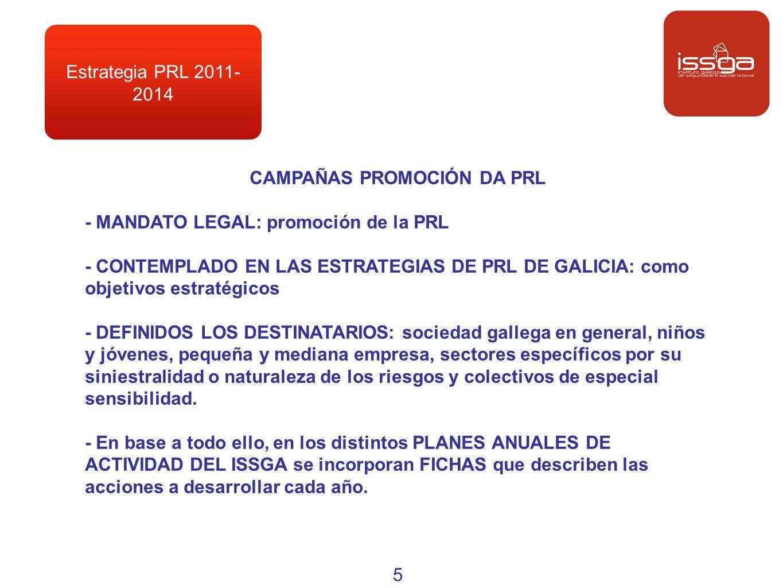 Estrategia PRL 2011- 2014 CAMPAÑAS PROMOCIÓN DA PRL - MANDATO LEGAL: promoción de la PRL - CONTEMPLADO EN LAS ESTRATEGIAS DE PRL DE GALICIA: como obje