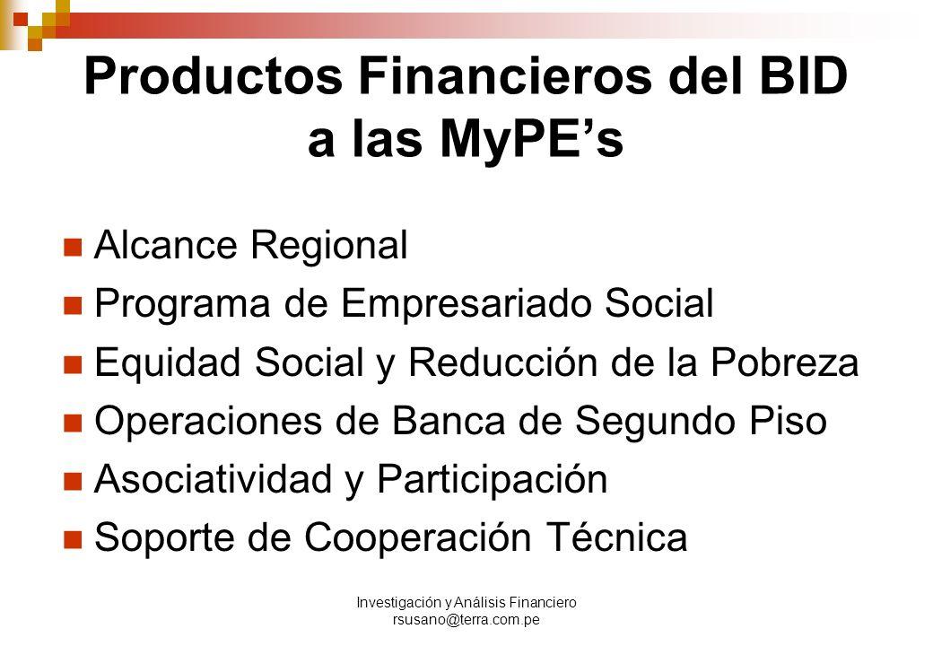 Investigación y Análisis Financiero rsusano@terra.com.pe Productos Financieros del BID a las MyPEs Alcance Regional Programa de Empresariado Social Equidad Social y Reducción de la Pobreza Operaciones de Banca de Segundo Piso Asociatividad y Participación Soporte de Cooperación Técnica