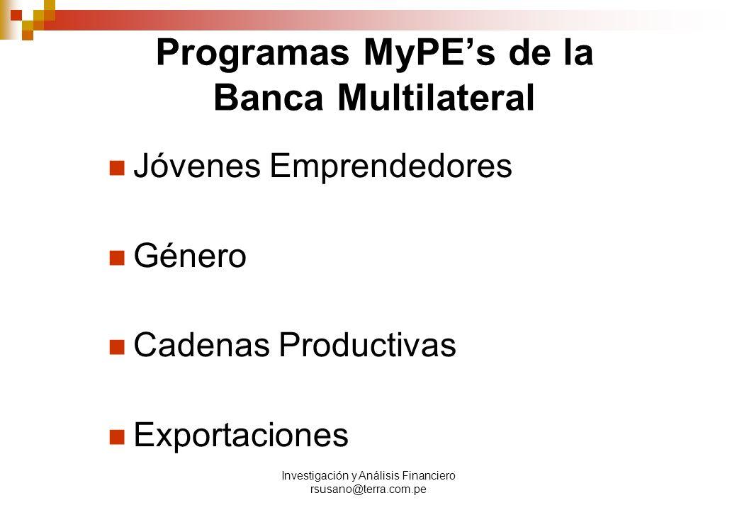 Investigación y Análisis Financiero rsusano@terra.com.pe Programas MyPEs de la Banca Multilateral Jóvenes Emprendedores Género Cadenas Productivas Exportaciones