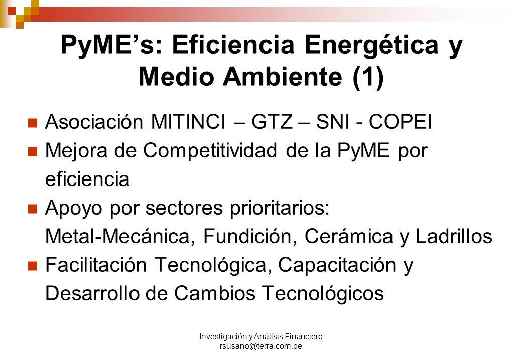Investigación y Análisis Financiero rsusano@terra.com.pe PyMEs: Eficiencia Energética y Medio Ambiente (1) Asociación MITINCI – GTZ – SNI - COPEI Mejora de Competitividad de la PyME por eficiencia Apoyo por sectores prioritarios: Metal-Mecánica, Fundición, Cerámica y Ladrillos Facilitación Tecnológica, Capacitación y Desarrollo de Cambios Tecnológicos