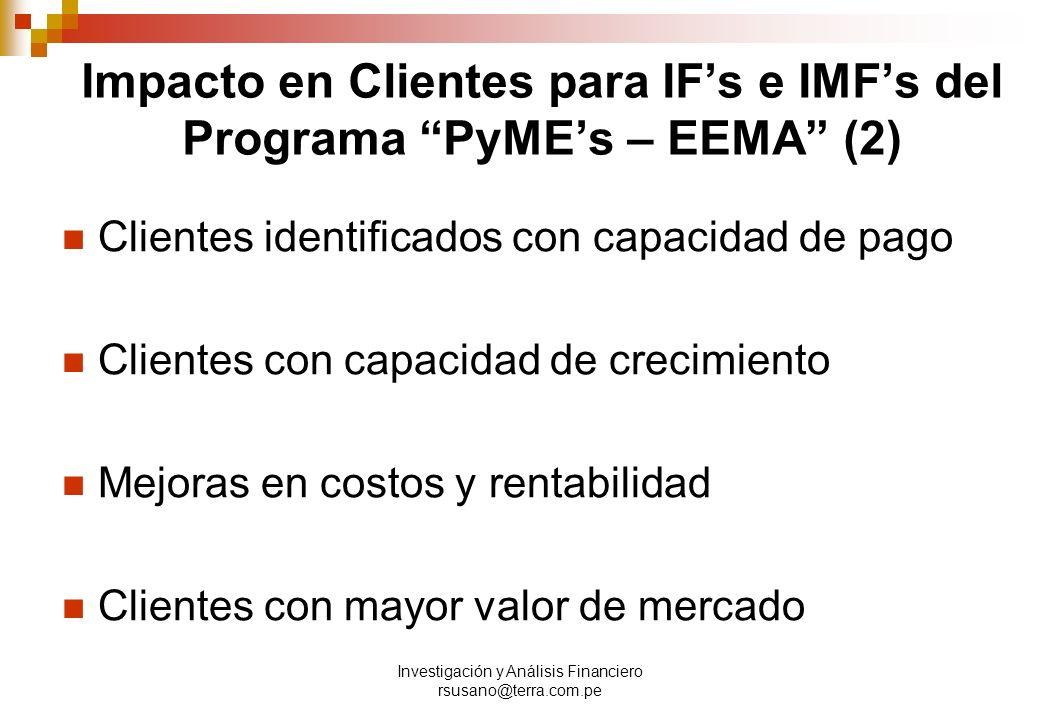 Investigación y Análisis Financiero rsusano@terra.com.pe Impacto en Clientes para IFs e IMFs del Programa PyMEs – EEMA (2) Clientes identificados con capacidad de pago Clientes con capacidad de crecimiento Mejoras en costos y rentabilidad Clientes con mayor valor de mercado