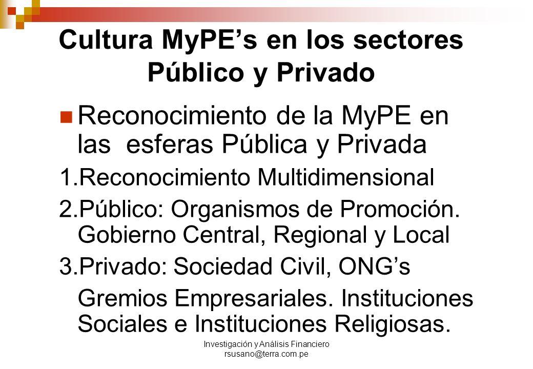 Investigación y Análisis Financiero rsusano@terra.com.pe Cultura MyPEs en los sectores Público y Privado Reconocimiento de la MyPE en las esferas Pública y Privada 1.Reconocimiento Multidimensional 2.Público: Organismos de Promoción.