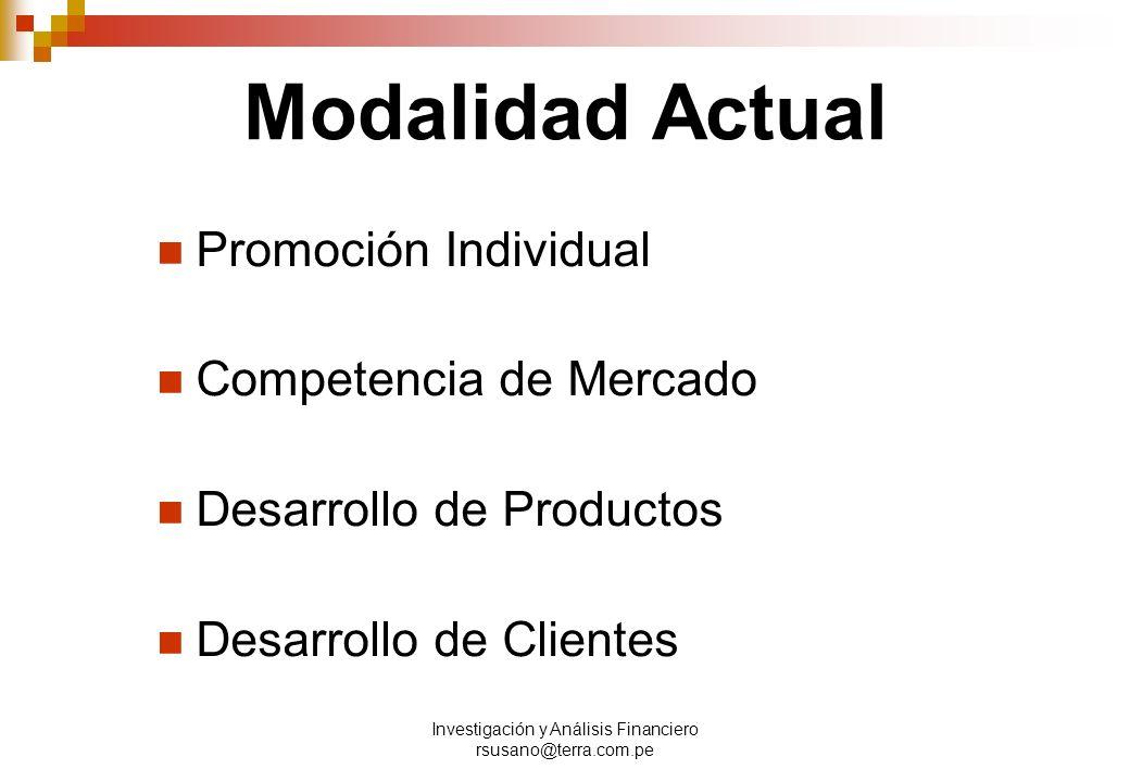 Investigación y Análisis Financiero rsusano@terra.com.pe Modalidad Actual Promoción Individual Competencia de Mercado Desarrollo de Productos Desarrollo de Clientes