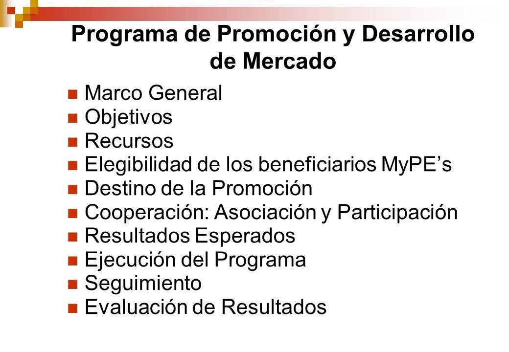 Programa de Promoción y Desarrollo de Mercado Marco General Objetivos Recursos Elegibilidad de los beneficiarios MyPEs Destino de la Promoción Cooperación: Asociación y Participación Resultados Esperados Ejecución del Programa Seguimiento Evaluación de Resultados