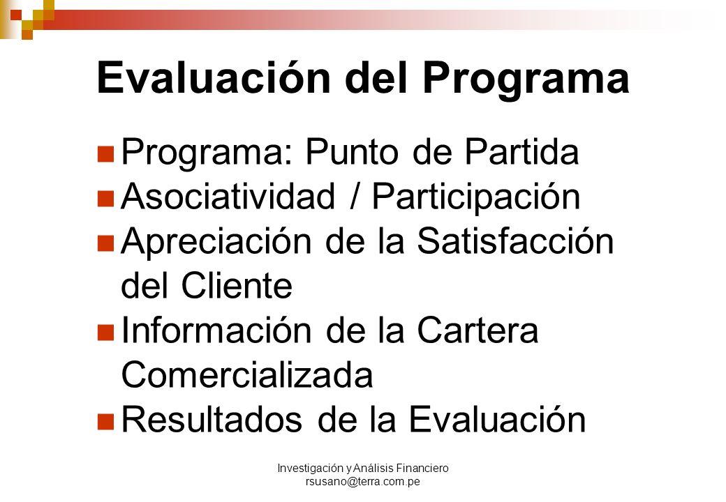 Investigación y Análisis Financiero rsusano@terra.com.pe Evaluación del Programa Programa: Punto de Partida Asociatividad / Participación Apreciación de la Satisfacción del Cliente Información de la Cartera Comercializada Resultados de la Evaluación