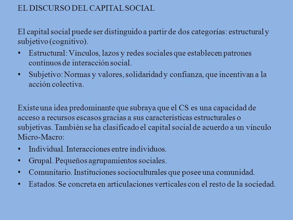 EL DISCURSO DEL CAPITAL SOCIAL El capital social puede ser distinguido a partir de dos categorías: estructural y subjetivo (cognitivo).