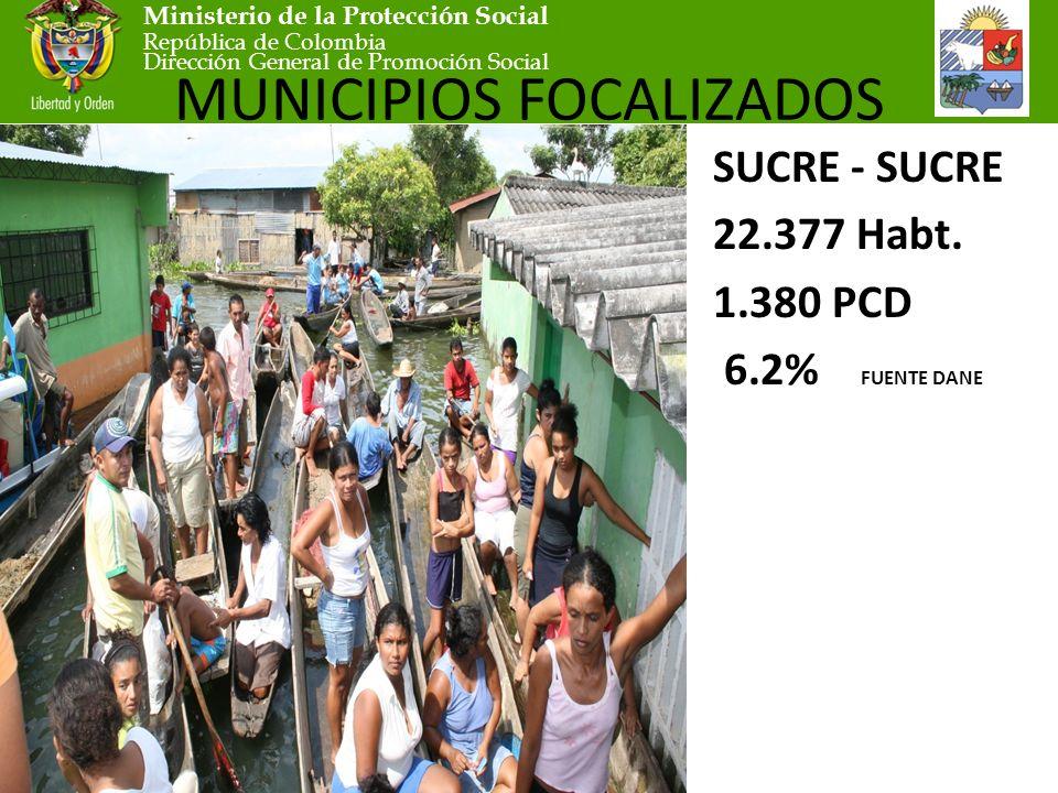 Ministerio de la Protección Social República de Colombia Dirección General de Promoción Social MUNICIPIOS FOCALIZADOS SUCRE - SUCRE 22.377 Habt.