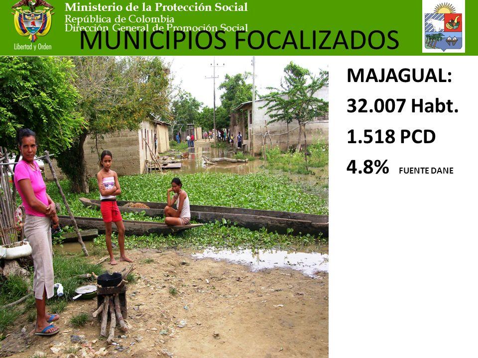 Ministerio de la Protección Social República de Colombia Dirección General de Promoción Social MUNICIPIOS FOCALIZADOS MAJAGUAL: 32.007 Habt.