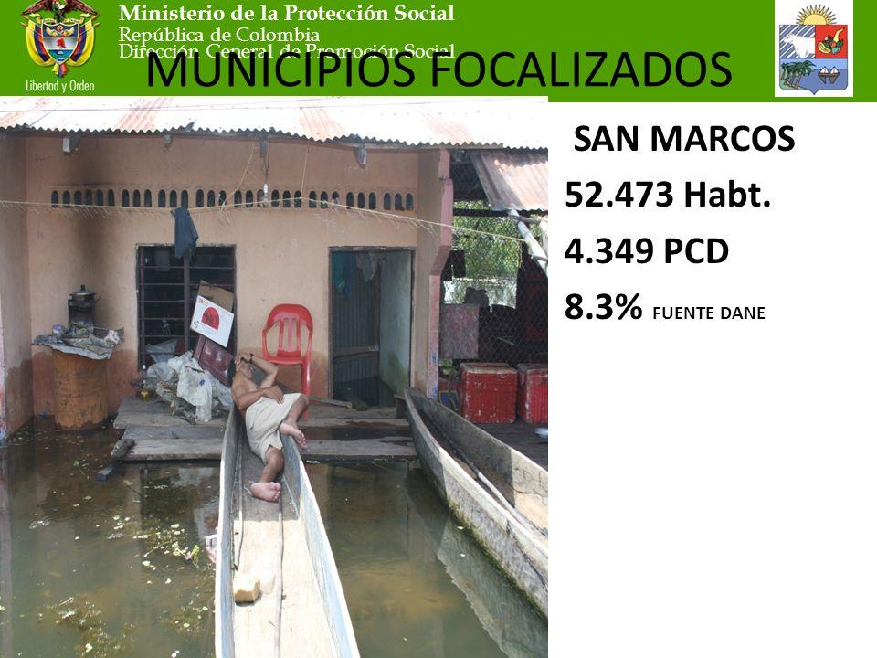 Ministerio de la Protección Social República de Colombia Dirección General de Promoción Social MUNICIPIOS FOCALIZADOS SAN MARCOS 52.473 Habt.
