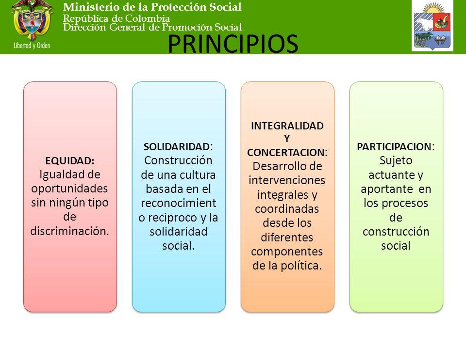 Ministerio de la Protección Social República de Colombia Dirección General de Promoción Social PRINCIPIOS EQUIDAD: Igualdad de oportunidades sin ningún tipo de discriminación.