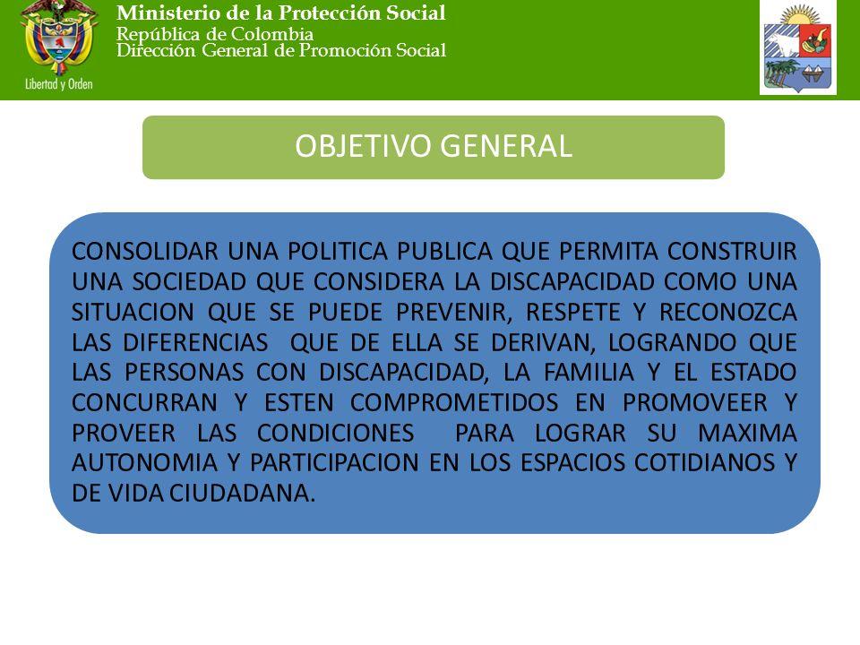 Ministerio de la Protección Social República de Colombia Dirección General de Promoción Social OBJETIVO GENERAL CONSOLIDAR UNA POLITICA PUBLICA QUE PERMITA CONSTRUIR UNA SOCIEDAD QUE CONSIDERA LA DISCAPACIDAD COMO UNA SITUACION QUE SE PUEDE PREVENIR, RESPETE Y RECONOZCA LAS DIFERENCIAS QUE DE ELLA SE DERIVAN, LOGRANDO QUE LAS PERSONAS CON DISCAPACIDAD, LA FAMILIA Y EL ESTADO CONCURRAN Y ESTEN COMPROMETIDOS EN PROMOVEER Y PROVEER LAS CONDICIONES PARA LOGRAR SU MAXIMA AUTONOMIA Y PARTICIPACION EN LOS ESPACIOS COTIDIANOS Y DE VIDA CIUDADANA.