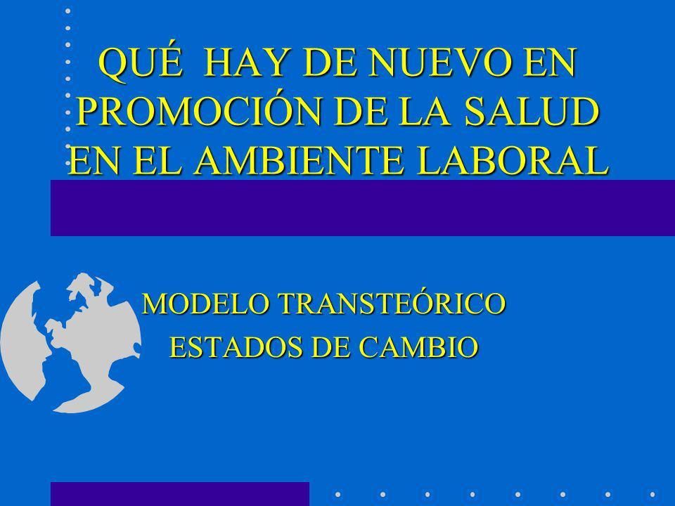 QUÉ HAY DE NUEVO EN PROMOCIÓN DE LA SALUD EN EL AMBIENTE LABORAL MODELO TRANSTEÓRICO ESTADOS DE CAMBIO