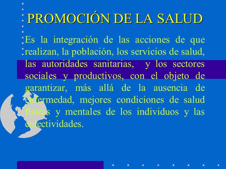 PROMOCIÓN DE LA SALUD Es la integración de las acciones de que realizan, la población, los servicios de salud, las autoridades sanitarias, y los secto