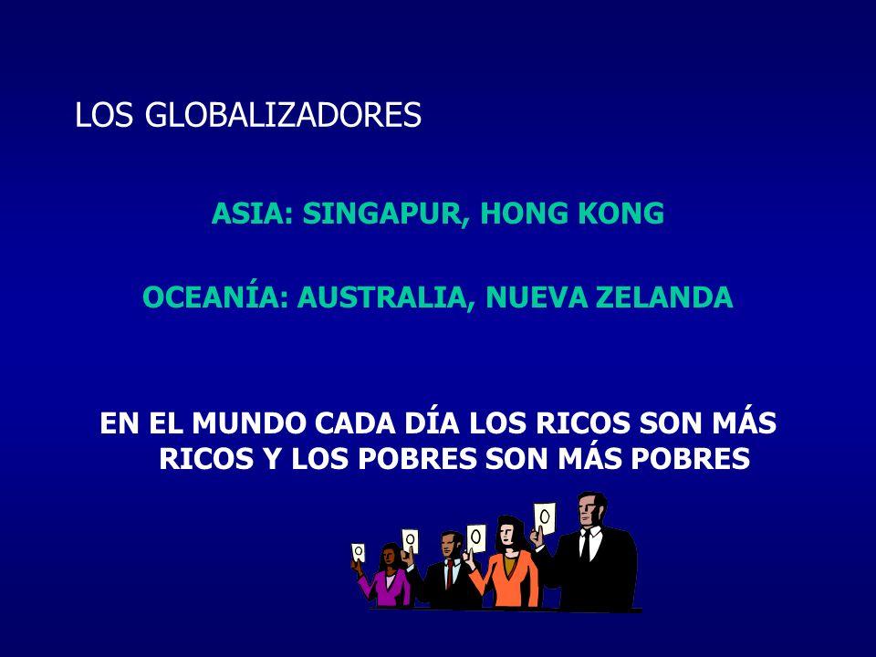 LOS GLOBALIZADORES ASIA: SINGAPUR, HONG KONG OCEANÍA: AUSTRALIA, NUEVA ZELANDA EN EL MUNDO CADA DÍA LOS RICOS SON MÁS RICOS Y LOS POBRES SON MÁS POBRE