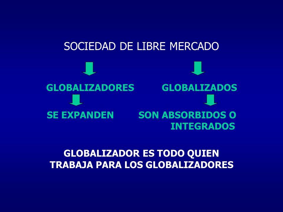 SOCIEDAD DE LIBRE MERCADO GLOBALIZADORES GLOBALIZADOS SE EXPANDEN SON ABSORBIDOS O INTEGRADOS GLOBALIZADOR ES TODO QUIEN TRABAJA PARA LOS GLOBALIZADOR