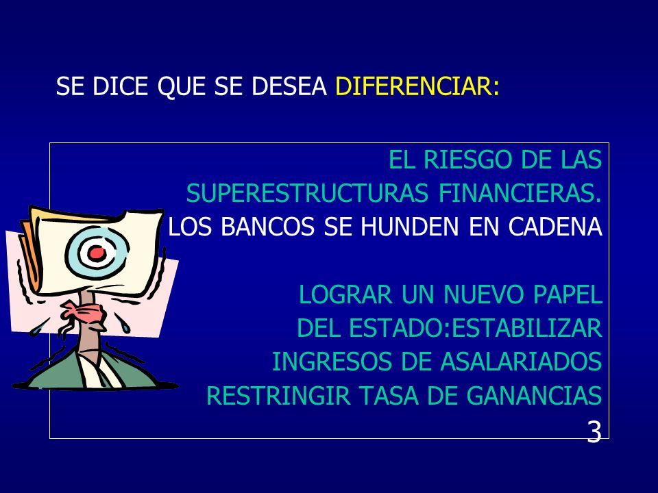 SE DICE QUE SE DESEA DIFERENCIAR: EL RIESGO DE LAS SUPERESTRUCTURAS FINANCIERAS. LOS BANCOS SE HUNDEN EN CADENA LOGRAR UN NUEVO PAPEL DEL ESTADO:ESTAB