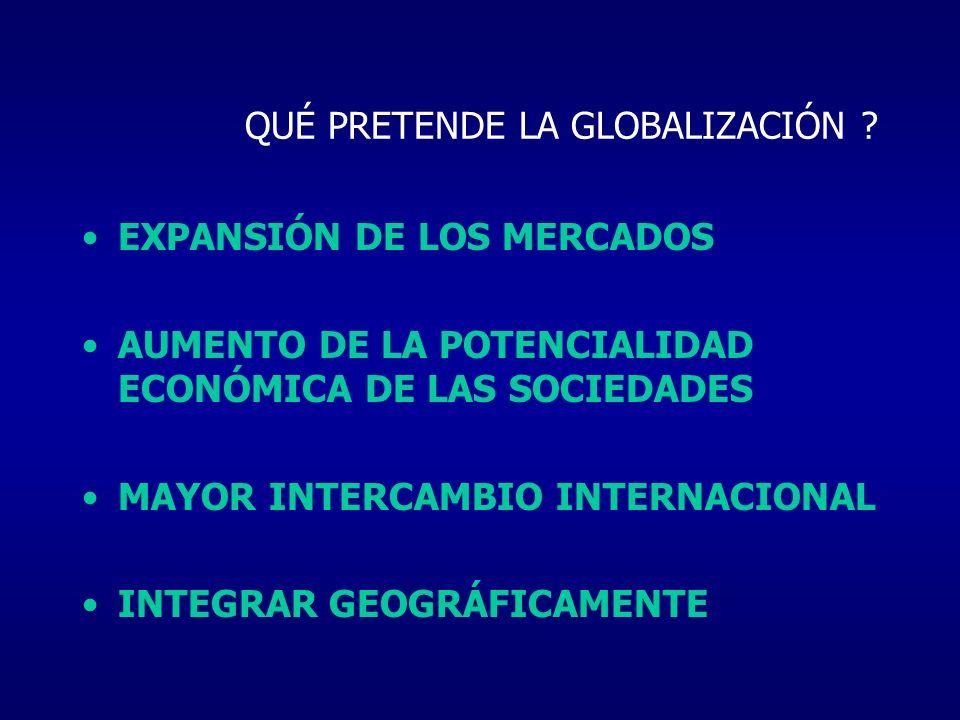 QUÉ PRETENDE LA GLOBALIZACIÓN ? EXPANSIÓN DE LOS MERCADOS AUMENTO DE LA POTENCIALIDAD ECONÓMICA DE LAS SOCIEDADES MAYOR INTERCAMBIO INTERNACIONAL INTE
