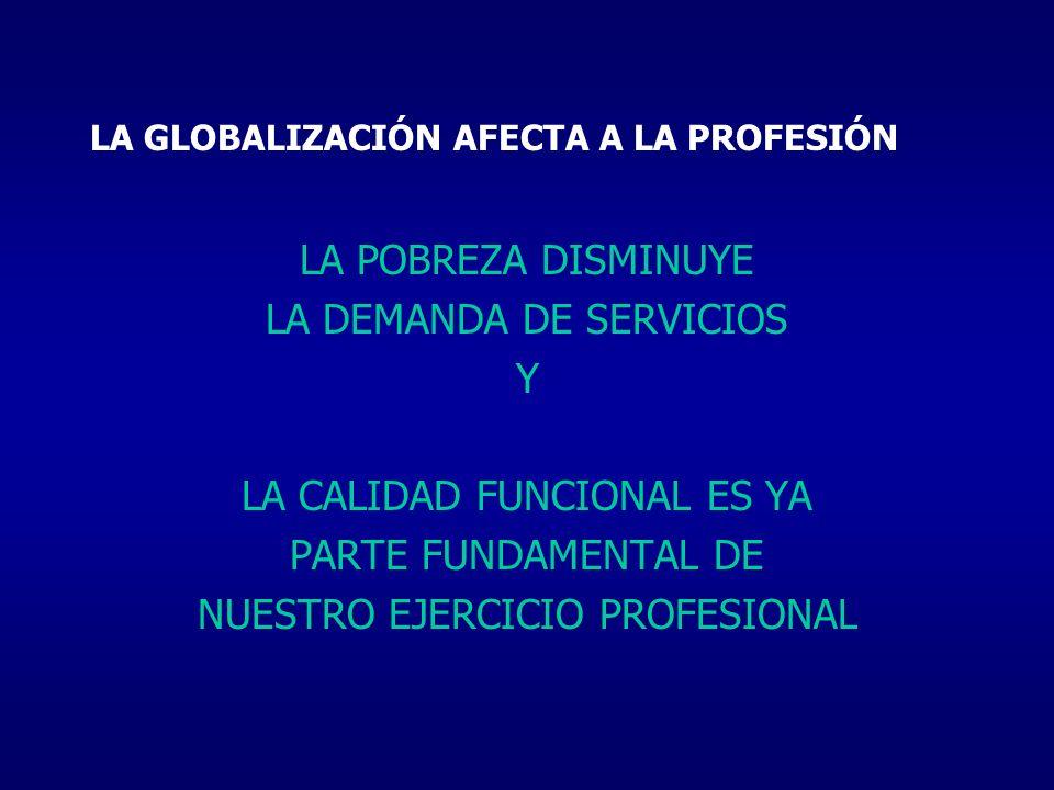 LA GLOBALIZACIÓN AFECTA A LA PROFESIÓN LA POBREZA DISMINUYE LA DEMANDA DE SERVICIOS Y LA CALIDAD FUNCIONAL ES YA PARTE FUNDAMENTAL DE NUESTRO EJERCICI