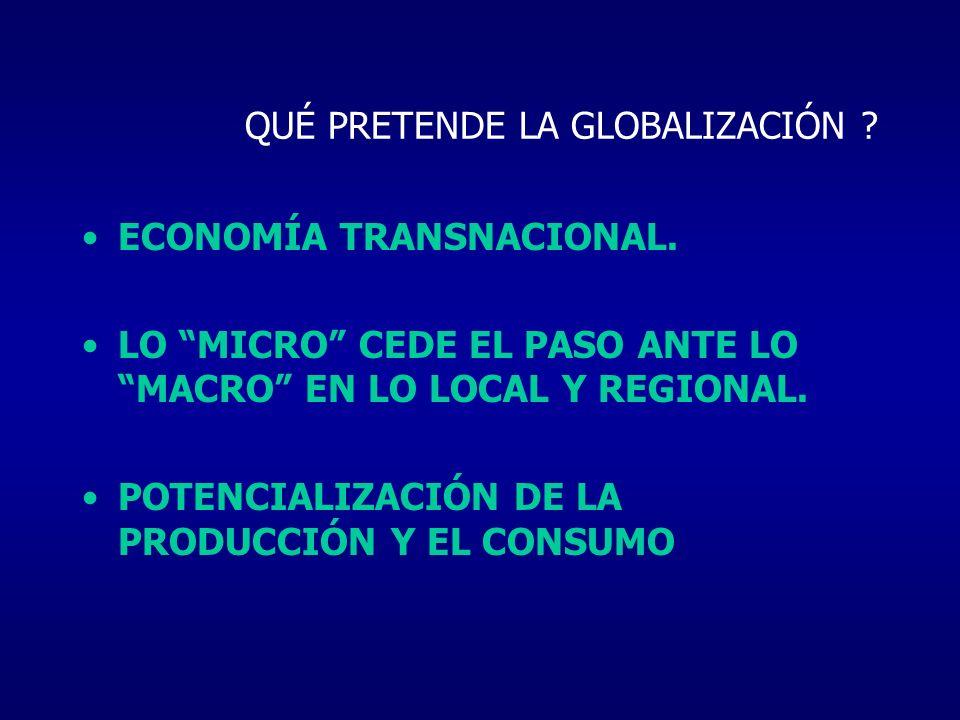 QUÉ PRETENDE LA GLOBALIZACIÓN ? ECONOMÍA TRANSNACIONAL. LO MICRO CEDE EL PASO ANTE LO MACRO EN LO LOCAL Y REGIONAL. POTENCIALIZACIÓN DE LA PRODUCCIÓN
