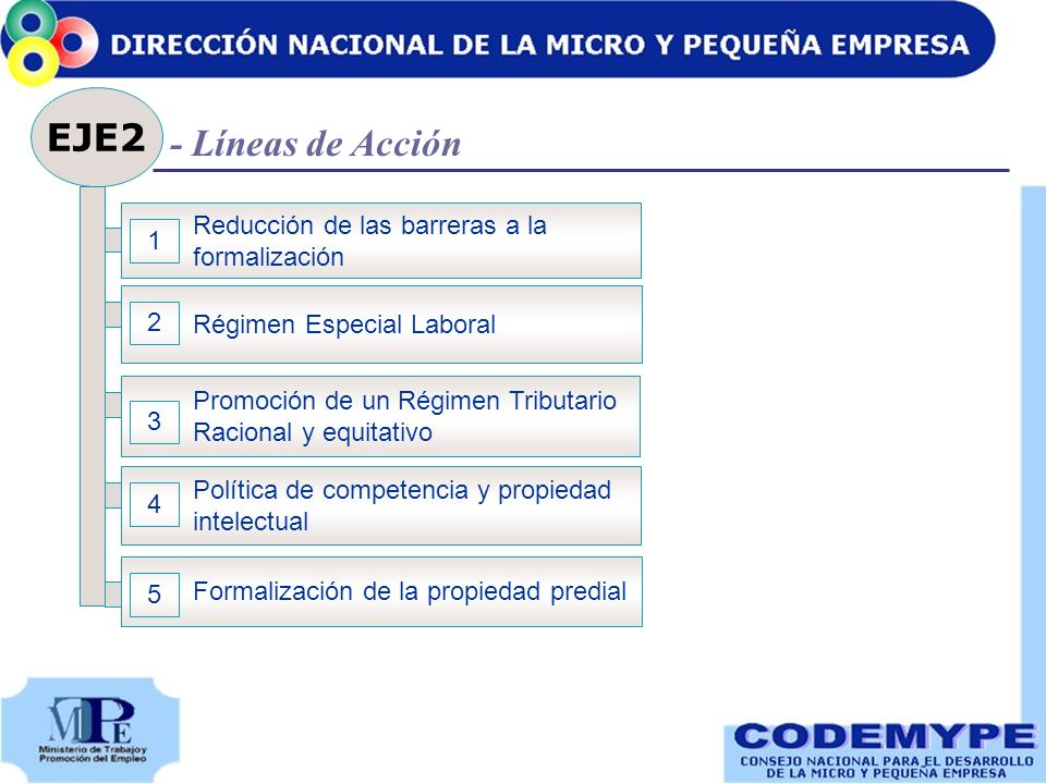 EJE2 Reducción de las barreras a la formalización 1 Régimen Especial Laboral 2 Promoción de un Régimen Tributario Racional y equitativo 3 Formalizació