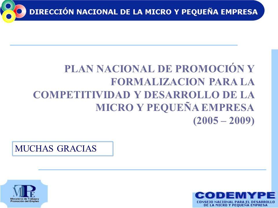 PLAN NACIONAL DE PROMOCIÓN Y FORMALIZACION PARA LA COMPETITIVIDAD Y DESARROLLO DE LA MICRO Y PEQUEÑA EMPRESA (2005 – 2009) MUCHAS GRACIAS